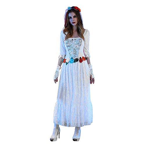 Mlide Women Gossamer Ghost Costume Gothic Victorian White Fancy Dress