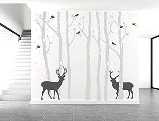 AIYANG Birch Tree Wall Stickers Birke Baum Wandtattoo Wohnzimmer Schlafzimmer Aufkleber Kinder Zimmer Wandmalereien Tapete Poster Wall Art Schlafzimmer Wohnzimmer Dekoration (7Sets-Grey)
