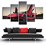 YB Lamborghini Aventador HD Poster 5 Piezas Supercar Canvas Paintings Sport Car Prints Wall Art Poster Living Room Home Decor, 20x35_20x45_20x55cm_No_Frame