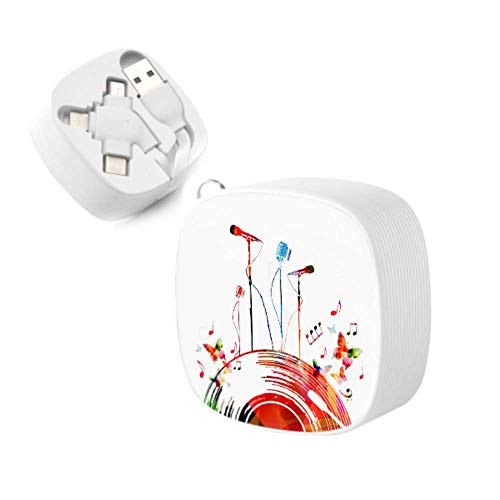 USB Cords Colorful Music Poster Vinyl Record Microphones Retractable Fast Charging Cable Andriod Charging Cords USB Port Adapter for iPhone,Android,tpye-c Universal Interface and Other Phones and Tab