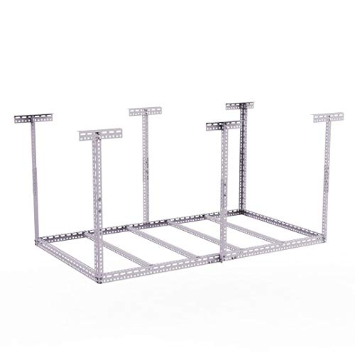 """4×8 Adjustable Ceiling Rack for Garage Storage Mount Storage Heavy Duty (54""""-96"""") Length x 48"""" Width x (20''-36"""") Highly, White"""