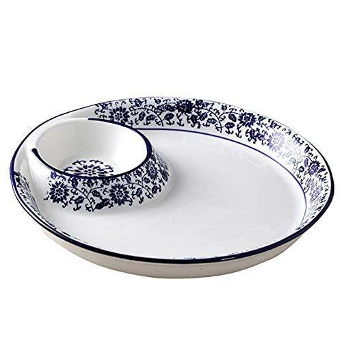 OGTFRWS Vajilla de porcelana azul y blanca Cerámica Placa de sopa redonda de estilo japonés