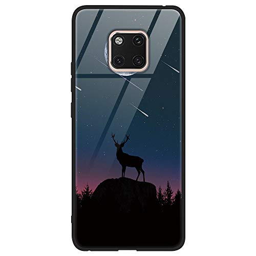 Yoedge Huawei Mate 20 Pro Hülle, Stoßfest Hybrid Schutzhülle [TPU Silikon + Glas Rückseite] mit Muster Motiv Handyhülle Kratzfeste Hardcase Rückschale Cover für Huawei Mate 20 Pro, Schaf