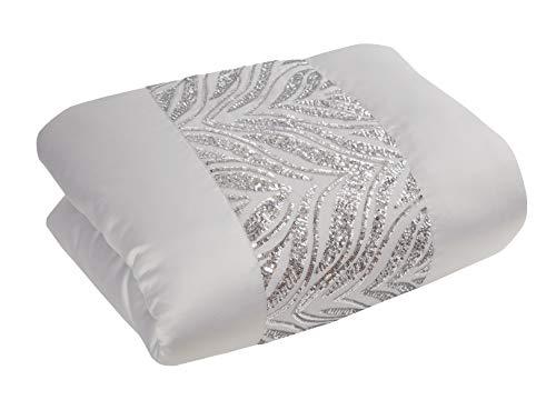 Sleepdown Colcha de Lentejuelas de Color Gris Plateado con Banda de Panel para sofá Cama, Manta súper Suave, cálida y Grande, 150 cm x 200 cm, poliéster y algodón