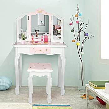 SSLine Kids Vanity Wooden Makeup Table and Chair Set for Girls Princess Pink Leopard Print Child Vanity Desk Three-Fold Mirror Dresser with Drawer - Pink/White