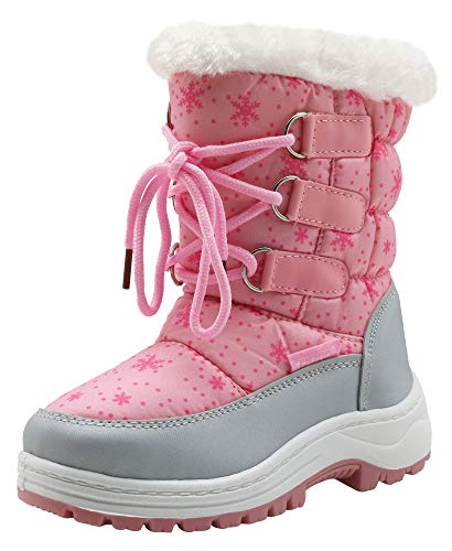Apakowa Kids Girls Insulated Fur Winter Warm Snow Boots (Toddler/Little) (Color : Pink, Size : 8 M US Toddler)