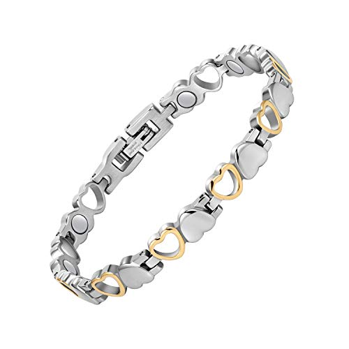Jecanori Magnetic Bracelets for Women Titanium Steel Therapy Bracelet Pain Relief for Arthritis 3500 Gauss Magnets Titanium Steel Bracelets for Carpal Tunnel Syndrome,Love Heart Design (Gold & Silver)
