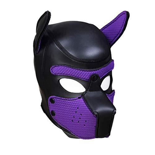 Unbekannt Sexy Cosplay Puppy Mask Sexy Cosplay Rollenspiel Hund Volle Kopfmaske Gepolsterte Gummi Welpen Spielmaske Weiche