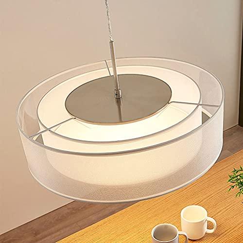 Puhui Lámpara colgante de tela moderna, diámetro de 40 cm, lámpara colgante redonda cromada, tela blanca de gasa, para dormitorio, salón, comedor, 3 luces, casquillo E27 (100 m de cable ajustable)