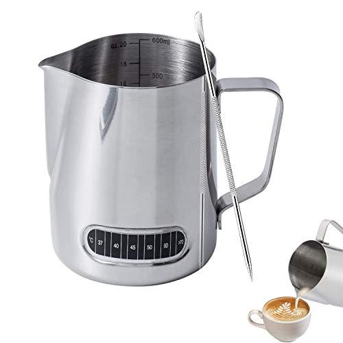 Jarra de leche de acero inoxidable de 600 ml con termómetro y lápiz para café con leche para hacer café y capuchino