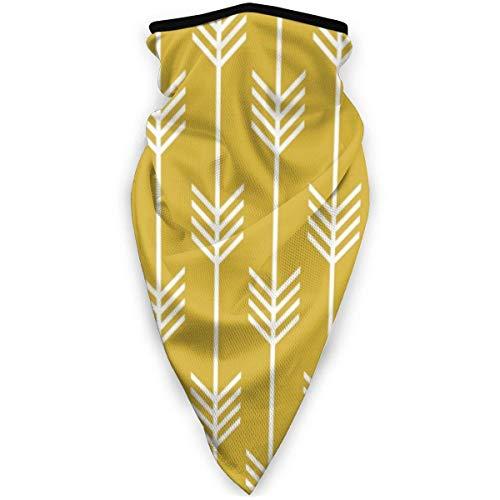 IZOU Modern Arrow Fletching Pattern Mustard Yellow Neck Gaiter Face Mask,Multifunction for Man Women seasons Magic Scarf Bandana Balaclava