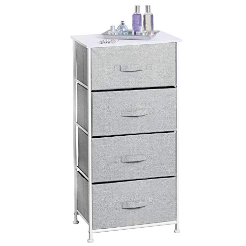 mDesign Cabinet Organizer with Fabric - Cabinet Organizer Wardrobe Organizer with 4 Drawers - Storage System for Clothes, Blankets and More - Gray
