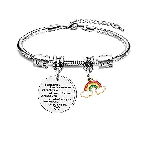 Pulsera inspiradora de arco iris para mujer, pulsera de serpiente de plata, joyas para ella detrás de ti, todos los recuerdos, familiares y amigos