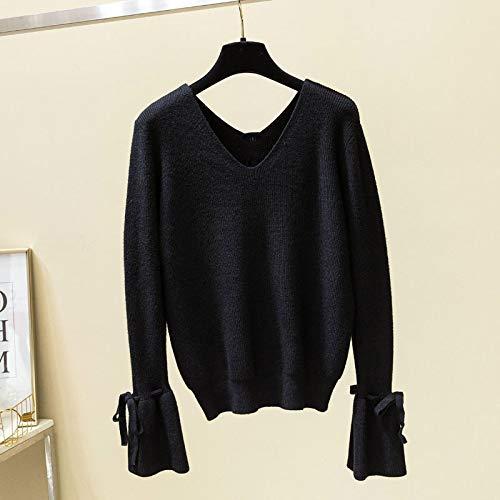 Moda Sudaderas Jersey Sweater Suéter De Mujer con Cuello En V Manga De Linterna Jerseys Sólidos Casual De Manga Larga con Cordones Suéter De Mujer OneSize 04