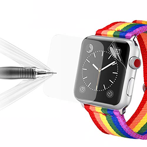 bandmax [2 Pièces] Protection d'Écran pour Apple Watch 42mm Film de Protection Prémium Ultra HD et Super Mince Anti-Mousse avec Coque TPU pour Apple Watch Séries 3/2/1 (42MM/0.18mm)