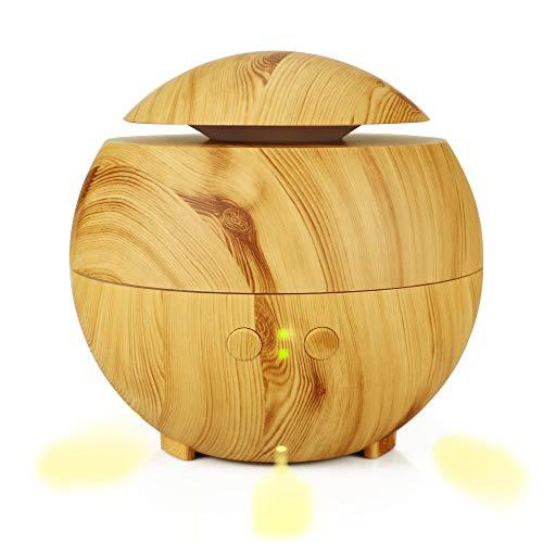 CZZJH Aromatherapie Luftbefeuchter 600Ml Holzmaserung Luftbefeuchter Home Ultraschall Zerstäubt Ätherisches Öl Diffusor