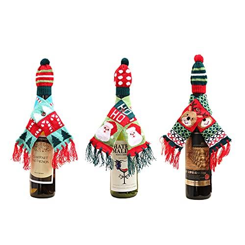 QSDGFH 3 fundas para botellas de vino de Navidad, mini sombrero y bufandas tejidas a mano, bolsas de botella de vino, bolsas de regalo de vino de Navidad para la mesa de fiesta en el hogar