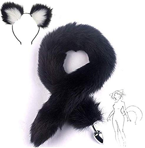 Blanco-Negro Fluffy B-ütt P-l-ǔ-g Fox Tail, Cat Ears