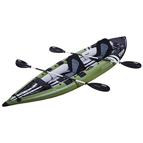 Elkton Outdoors Steelhead Inflatable Fishing Kayak - Two-Person Angler Blow Up Kayak, Includes Paddles, Seats, Hard Mounting Points, Bungee Storage, Rigid Dropstitch Floor and Spray Guard
