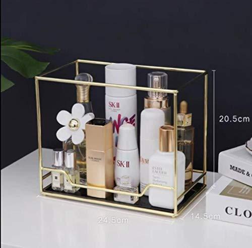 Nordic roterende cosmetische desktop opbergdoos transparante make-up organisator 2 lagen glazen dienblad kaptafel afwerkingsrek, 1 laag C
