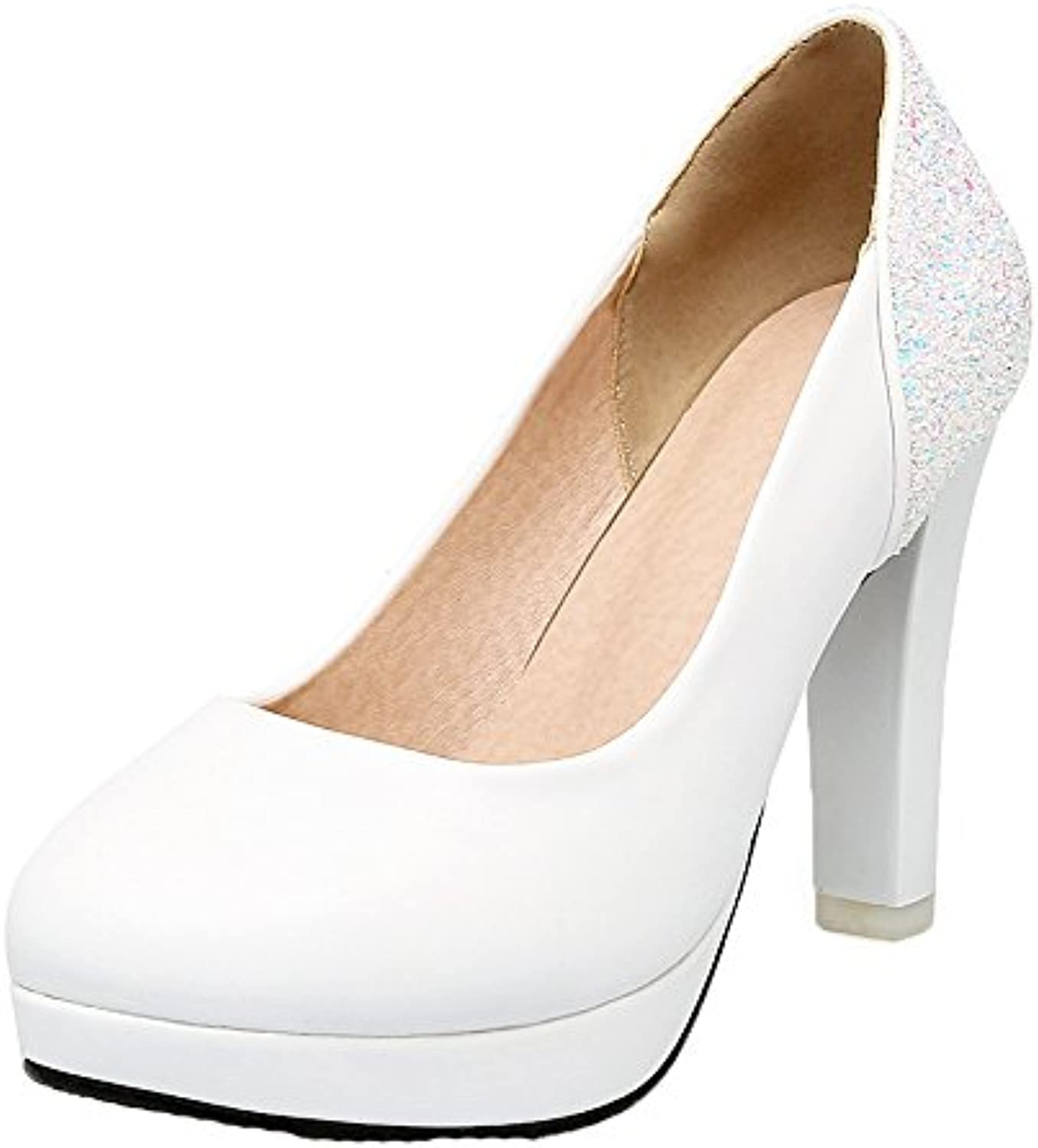 AmoonyFashion Women's PU High-Heels Round-Toe Solid Pull-On Pumps-shoes