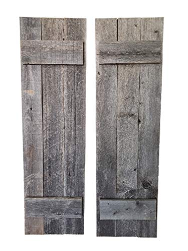 """Mejor Rustic Barnwood Farmhouse Style Wood Shutters Set Of Two 30"""" x 11""""… crítica 2020"""