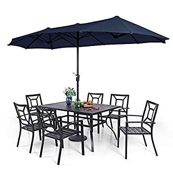 """PHI VILLA 7 Piece Outdoor Dining Set with Umbrella for 6 60"""" Rectangular Metal Dining Table & 6 Stackable Metal Chairs & 13ft Large Navy Umbrella for Outdoor Deck Yard Porch"""