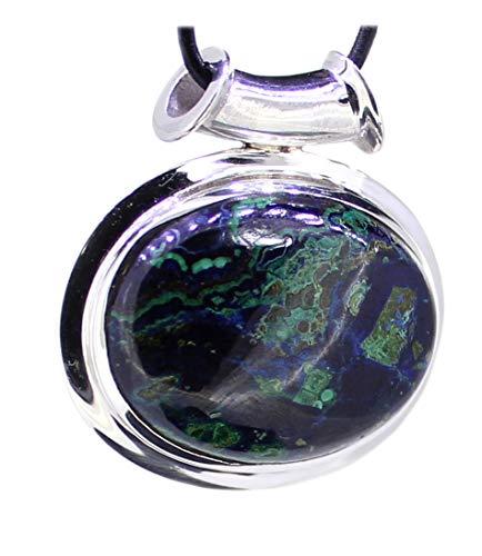 budawi® - Azurit-Malachit Edelstein in 925er Silber gefasst, echter Azurit-Malachit Anhänger