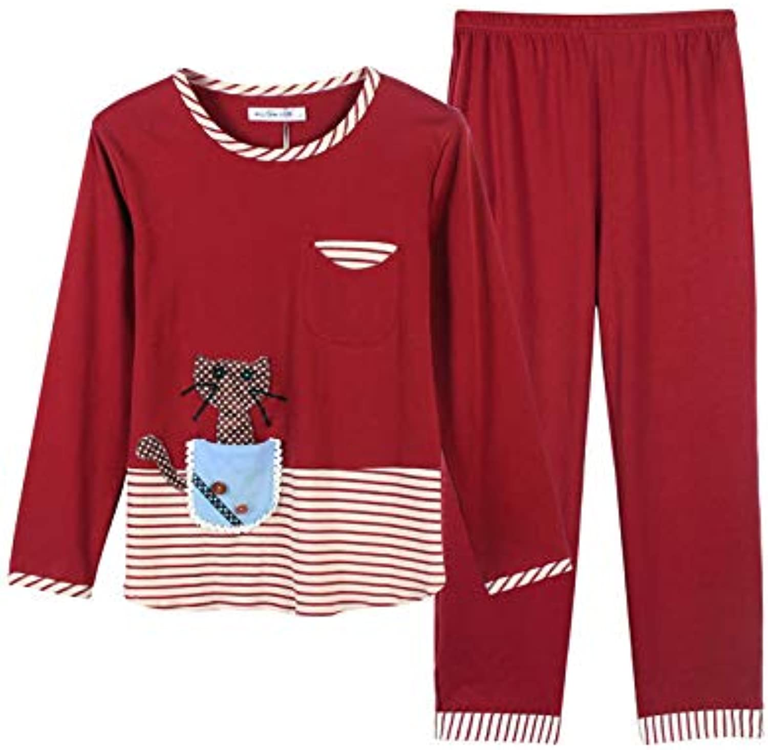 IANXI Home Spring and Autumn LongSleeved Cotton Korean Cute Big Size Fat mm Autumn and Winter Loose Casual Pajamas Women's Home Service Suit (color   Red, Size   L)