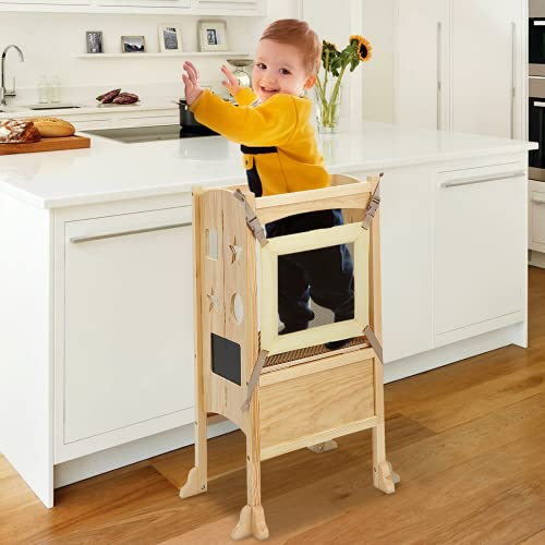KINGSO Kitchen Step Stool for Kids, Toddler Tower, Toddler Safety Cooking Tower with Keeper, Non-Slip Mat and Write-on Wipe-Off Message Boards