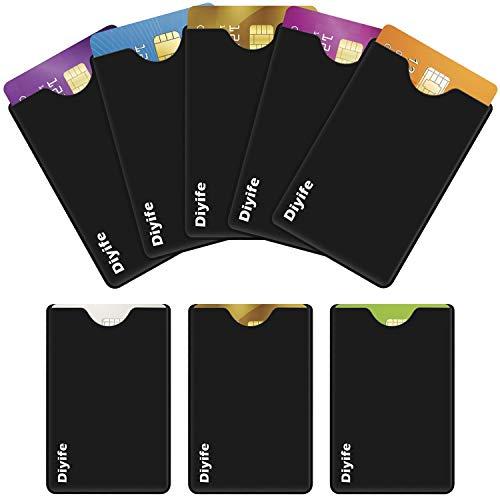 Diyife Blocage Porte Cartes de Crédit[Lot de 8], RFID & NFC Protecteur de Carte Ensemble, Matériau PVC, Protection de Carte sans Contact, Anti Data & Vol D'identité Portefeuille de Poche Sécurisé