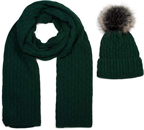 styleBREAKER Unisex Strick Schal und Mütze Set mit Flecht Muster, Thermo-Fleece Innenfutter, Winter 01018212, Farbe:Dunkelgrün