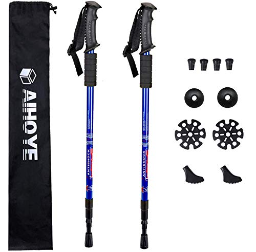 Aihoye Trekking Poles, Collapsible Lightweight Shock-Absorbent Hiking Walking Sticks Adjustable Aluminum Hiking Poles for Women Men Kids, 2 Pack, with 10 Replacement Tips(Blue)