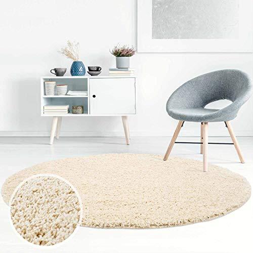 Carpet City ayshaggy Shaggy Teppich Hochflor Langflor Einfarbig Uni Creme Weich Flauschig Wohnzimmer, Größe: 80 x 80 cm Rund, 80 cm x 80 cm