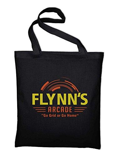 Styletex23 Flynn's Arcade Film Logo Jutebeutel Baumwolltasche, schwarz