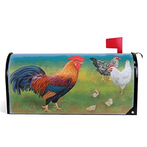 Oarencol Briefkasten, Vintage-Stil, Hahn, Bauernhof, Hühner, Tiermalerei, Briefkasten, magnetisch, groß, für Garten, Hof, Heimdekoration, Übergröße 64,8 x 53,3 cm