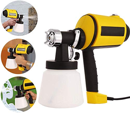 Paint Sprayer, 450W Electric Spray Gun, 1100ml/min HVLP Home Paint Sprayer with 3 Spray Patterns, 3 Nozzle Sizes and 900ML Detachable Container for Indoor and Outdoor(Yellow)