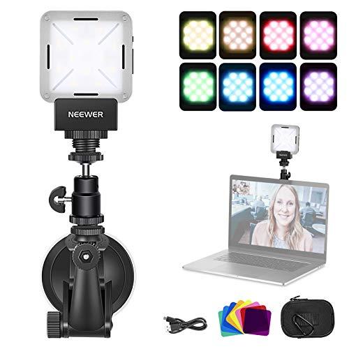 Neewer - Luz de vídeo LED Regulable 216 LED para cámara de vídeo con 2 Pilas de Litio NP-F550 2600 mAh Cargador USB Bolsa de Transporte para grabación de vídeo Youtube