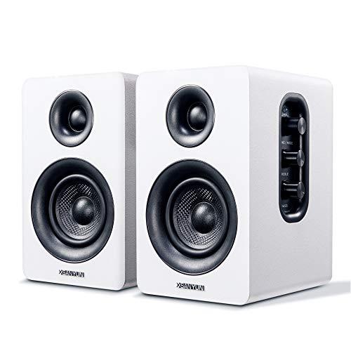 """Sanyun SW208 3"""" Aktive Bluetooth-Regallautsprecher - 60-W-Kohlefaser-Lautsprechereinheit - aptX-Codec - eingebauter 24-Bit-DAC - dynamischer 3D-Surroundsound - Computer-PC-Monitor (Paar, weiß)"""