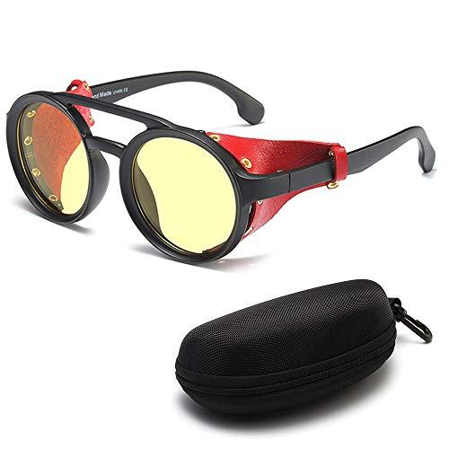 DASHAN Gafas de Sol Retro Redondas de Steampunk para Hombres Gafas Protectoras Laterales Gafas de Sol góticas,C1