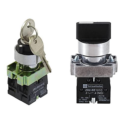 Cobeky 2 piezas de 22 mm de bloqueo 2 NO tres de 3 posiciones, interruptor selector de bloqueo y selector rotativo selector selector selector