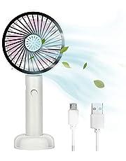 Queta - Reisventilator, mini-USB-ventilator, stille tafelventilator met 2 instelbare snelheden, opvouwbare handventilator voor thuis, met ondersteuningsfunctie/aromatherapie-box