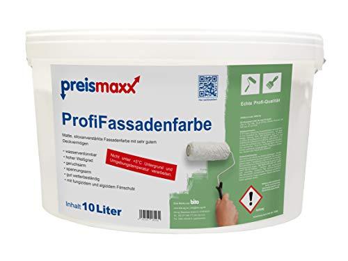 Profi Fassadenfarbe, weiß, 10 Liter, matte, wasserabweisende Aussen-Dispersion, hohe Wasserdampfdurchlässigkeit