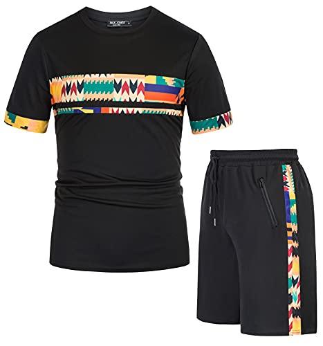 PaulJones 2 Pezzi Tuta Sportivo Estiva Tuta Corta Uomo Set T-shirt da Estate a Righe Semplicità Fitness L Nero
