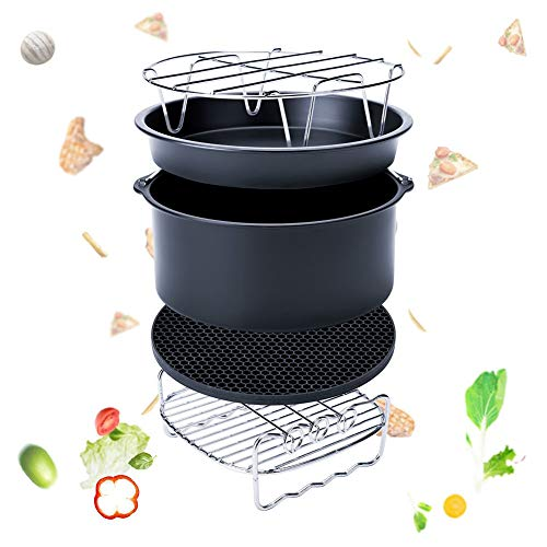 yangGradel - Juego de 5 accesorios para freidora de aire para Gowise Phillips Cozyna Fit 3.7-5.8QT kit de alfombrilla para bandeja de torta, 6 pulgadas