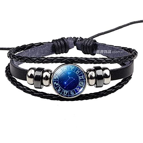 QYQMYK Constelación Pulsera,Leo Simplicity Cadena Negra Cuero Azul Pulsera Luminosa Tejida A Mano Perso Nalized Fashion Horóscopo Charm para Hombres Mujeres Accesorios De Viaje Regalo