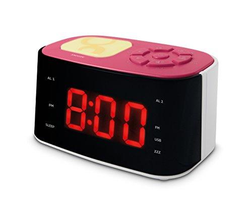 Metronic Radiowekker/nachtlampje voor kinderen Roze en wit