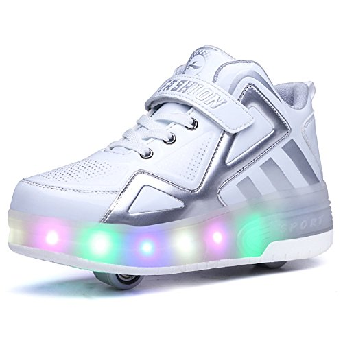 KOWO Jungen Mädchen Schuhe LED/Skateboard LED Licht mit Rollen, Farbe Bunt Licht,Rollerblades Inline Skates Drucktaste Einstellbare Outdoor Sport Gymnastik Running Schuhe