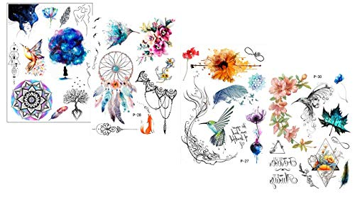 4 vellen waterkleuren tattoo's droomhanger Mandala bloemen vogels veer tattoo's Color Dream Set 2