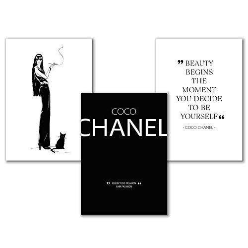 Coco Fashion Bild, Beauty Poster Set, Sprüche Bilder Schwarz-Weiß, Kunstdrucke Wohnzimmer